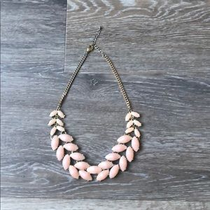 Gold and Pink Stone Statement Necklace